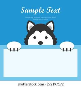 Siberian husky dog face text box, Flat design banner, Animal avatar background.