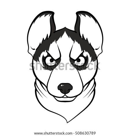 Siberian Husky Dog Shawl Vector Outline Stock Vector Royalty Free