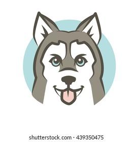 Siberian Husky dog vector illustration, logo template