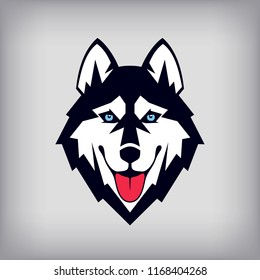Siberian husky head logo or icon. Good-natured dog shows its tongue. Stock vector illustration. Business sign template.