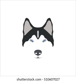 Siberian Husky head. Vector illustration.