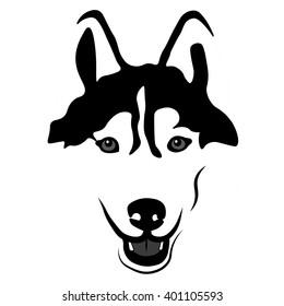 Siberian Husky Portrait. Emblem of a Dog in Black and White