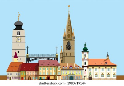 Sibiu medieval city modular vector buildings and elements