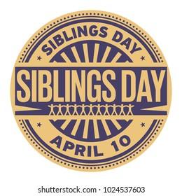 Siblings Day, April 10, rubber stamp, vector Illustration