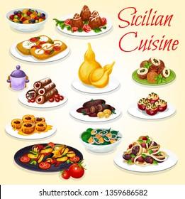 Sicilian cuisine snack, salad and dessert dishes. Vector meatball spaghetti pasta, eggplant stew caponata, cannoli and rice arancini, focaccia bread with vegetable and cheese, stuffed tomato and peach
