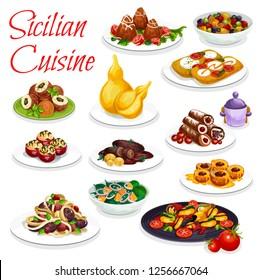 Sicilian cuisine vector eggplant stew caponata dish, cannoli and fried rice balls arancini. Focaccia with tomato and mozzarella, spaghetti, orange salad and seafood stew, stuffed tomato and peach
