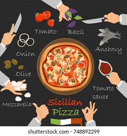 Sicilian recipe pizza constructor on black wood background