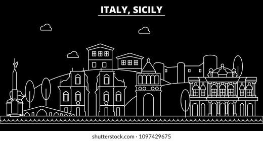 Italy, Sicily. City skyline architecture, buildings ... |Sicily Landmark Silhouette