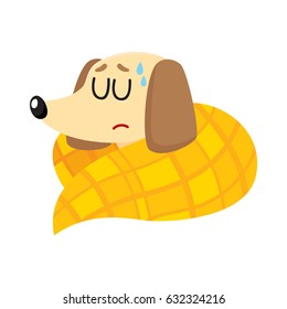 Sick Baby Badger Dog Having Flu Fever Sleeping Under Blanket Cartoon Vector Illustration