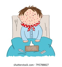 Sick boy with chickenpox, measles, rubeola or skin rash sitting in the bed with medicine, thermometer and paper handkerchiefs on the blanket - original hand drawn illustration