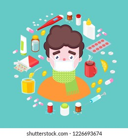 Sick boy with different drugs and medicaments on green background