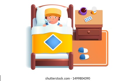Sick boy kid lying in bed under blanket. Sad ill bedridden child suffering flu fever disease taking temperature with thermometer in mouth. Home bedroom with medicine pills. Flat vector illustration