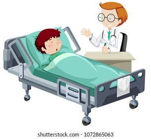 A Sick Boy Sleeping in Hospital illustration