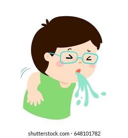 Sick boy vomiting cartoon vector illustration.