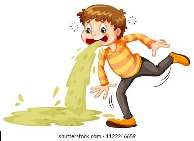 A sick boy vomiting illustration