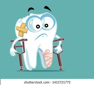 Sick Broken Tooth in Crutches. Chipped molar cartoon vector character