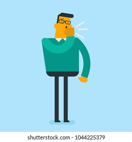 Sick caucasian white man coughing into his hand. Strongly coughing young sick man suffering from asthma or flu virus. Guy has a sore throat. Vector cartoon illustration. Horizontal layout.