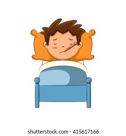 Sick child in bed, vector illustration