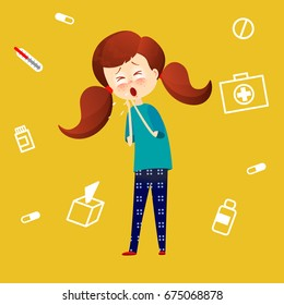 Sick child with fever and illness . Kid catch cold. Young girl got flu and coughing. Sickness symptoms vector illustration in cartoon style.