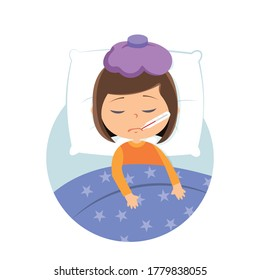 Sick child lying on bed cartoon vector illustration on white background