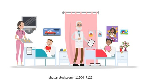 Sick children lying in hospital beds. Doctor visiting happy young patients. Medical treatment. Children hospital interior. Vector flat illustration