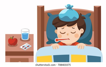Sick cute boy sleep in bed with a thermometer in mouth and feel so bad with fever.