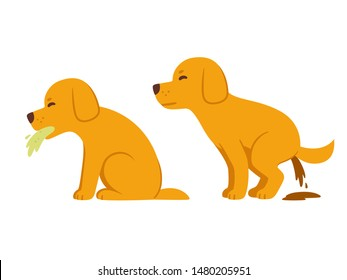 Sick dog vomiting and having diarrhea, symptoms of food poisoning and intoxication in dogs. Veterinary health illustration, cartoon drawing.