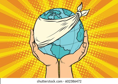 Sick Earth, ecology and nature. Blue planet in human hands. Pop art retro vector illustration