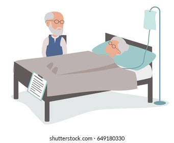 Sick Elderly woman in hospital bed with husband - vector characters body parts grouped and easy to edit - limited palette