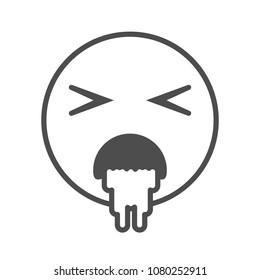 Sick emoticon vomiting. Vector emoji smiley icon