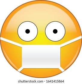Sick emoticon wearing a medical mask. Yellow emoji wearing a medical mask with eyes wide open and small pupils from fear of viruses, germs, pandemic and disease.