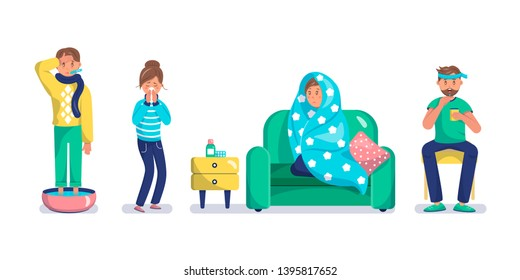 Sick flat characters set. Man with flu measuring body temperature. Woman with influenza sneezing. Guy having headache isolated clipart. Illness, seasonal cold symptoms. Medicines, drugs on table