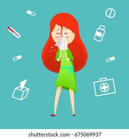 Sick girl. Allergy kid sneezing. Vector cartoon illustration. ill child with flu or virus. Health care concept. Running noise symptom. infographic poster. Season allergy