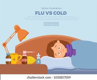 Sick girl in bed with the symptoms of  cold, flu. Cartoon vector character on pillow with blanket and scarf, medicine, lemon, thermometer. Illustration of unhealthy woman with a high fever, headache.