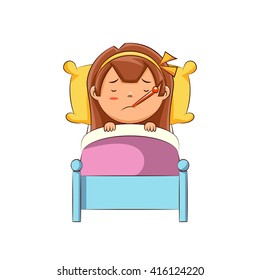 Sick girl in bed, vector illustration