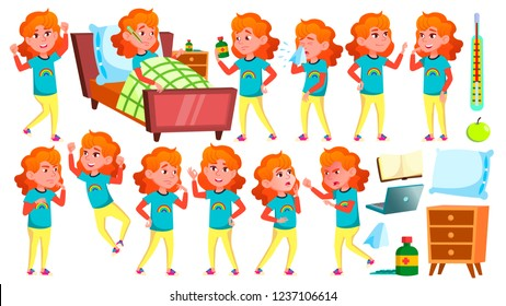 Sick Girl Schoolgirl Vector. Ill Child. For Advertising, Placard, Print Design. Isolated Cartoon Illustration