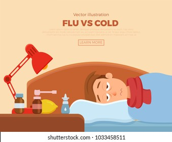Sick guy in bed with the symptoms of  cold, flu. Cartoon vector character on pillow with blanket and scarf, medicine, lemon, thermometer. Illustration of unhealthy men with a high fever, headache.