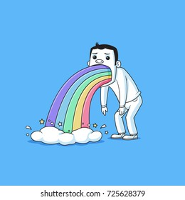 Sick guy puking rainbow vector cartoon illustration