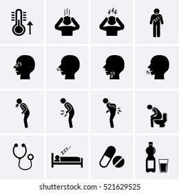 Sick Icons set. FLU or Influenza symptoms icons. Human disease pictogram, Vector