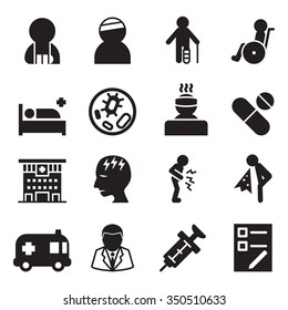 Sick & injury icons set vector illustration