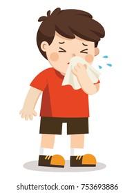 Sick Kid.  A boy with handkerchief in hand. Season allergy.
