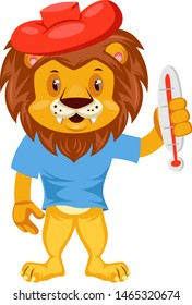 Sick lion, illustration, vector on white background.