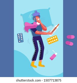 Sick man in bed with the symptoms of cold, flu. Flat Cartoon vector character on pillow with blanket and scarf, huge medicine, thermometer. Illustration of unhealthy guy with a high fever, headache