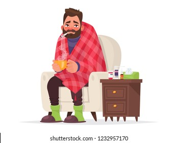Sick man. Flu, viral disease. Vector illustration in cartoon style