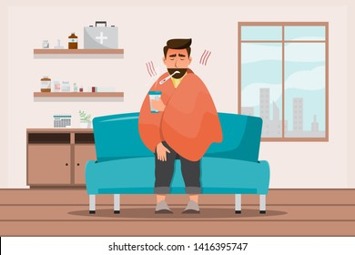 sick man having a cold sit in the room. cartoon caracter style vector illustration isolated on white background.