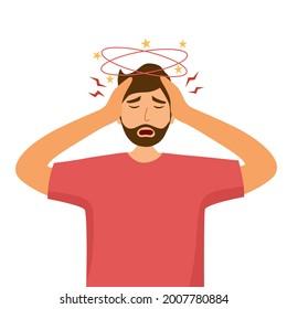 Sick man having dizzy symptom in flat design on white background. Guy feeling vertigo. Dizziness illness.