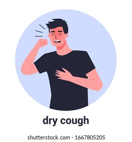 Sick man having dry cough. Male person with asthma, allergy or cold. Sick guy. Man with respiratory disease symptom. Isolated vector illustration in cartoon style
