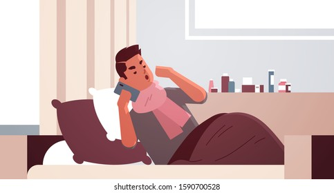 sick man having sneeze unhealthy guy in scarf calling phone for medical help suffering from cold flu virus illness concept modern living room interior flat full length closeup horizontal vector