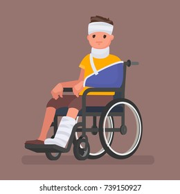 A sick man with injuries and gypsum sits in a wheelchair. Vector illustration in a flat style