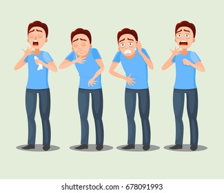 Sick man. symptoms: pain in the stomach, headache, sore throat, runny nose, cough. Cartoon vector illustration.